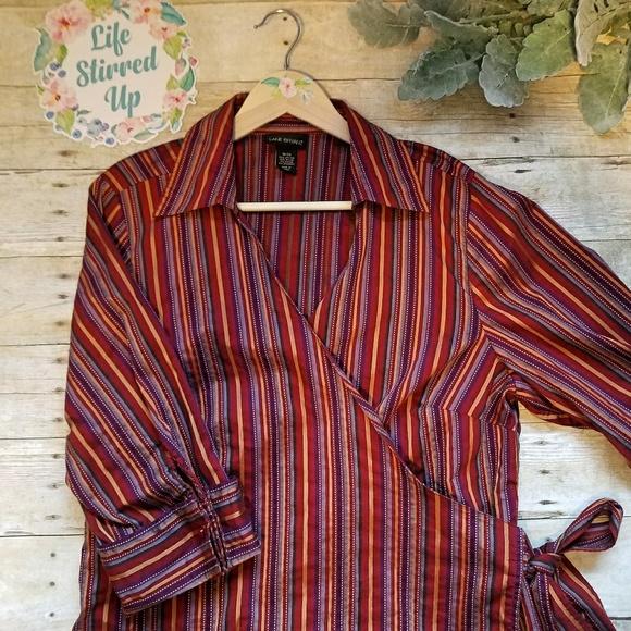 Lane Bryant 18/20 Maroon Striped Wrap Blouse